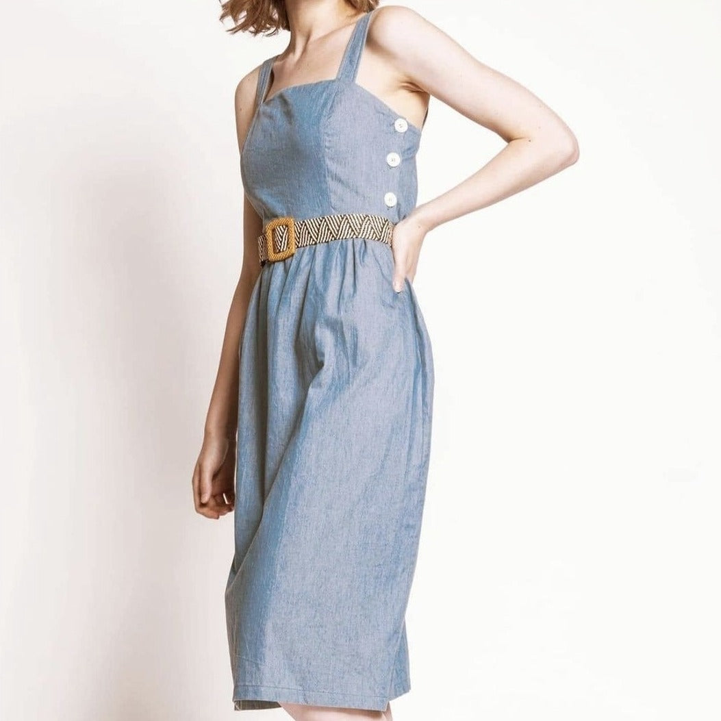 Chambray Side Button Dress
