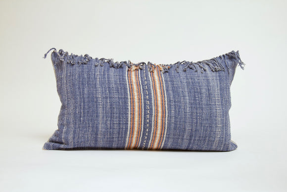 Blue and Orange Lumbar with Fringe Cover