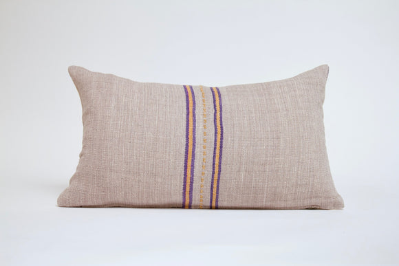 Light Gray Striped Hmong Pillow