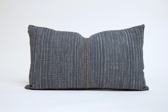 Blue Gray Hmong Pillow with Center Stitching Cover