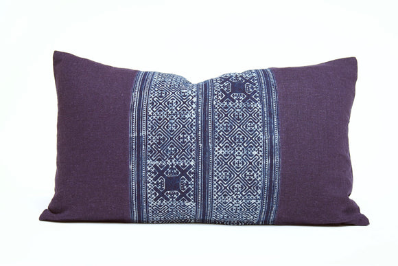 Indigo Patterned Lumbar Pillow Cover