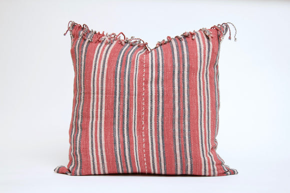 Red Striped Pillow with Fringe Cover
