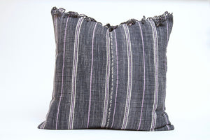 Dark Gray with Purple and White Striping and Fringe Cover
