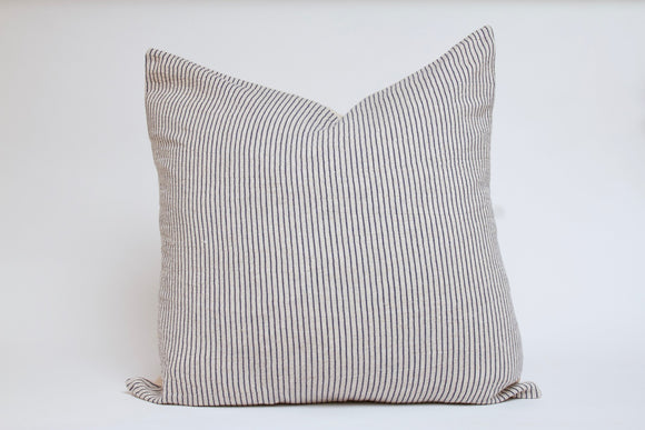 Cream and Blue Striped Pillow Cover