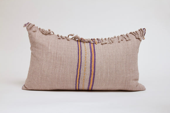 Light Gray Striped Hmong Pillow with Fringe