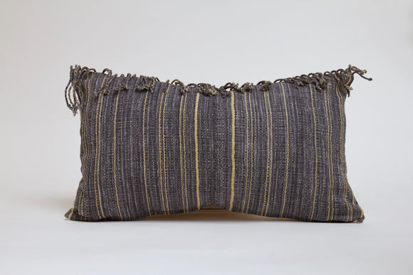 Blue Gray  Striped Hmong Pillow with Fringe Cover