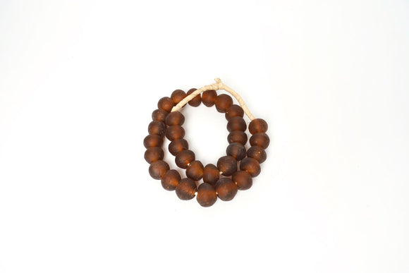Jumbo Amber Toned Recycled Glass beads