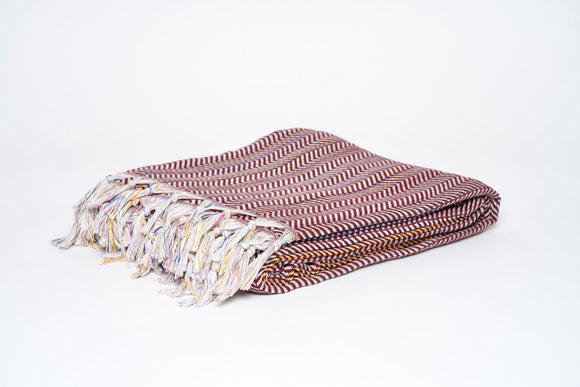 Wine Colorful Herringbone Throw