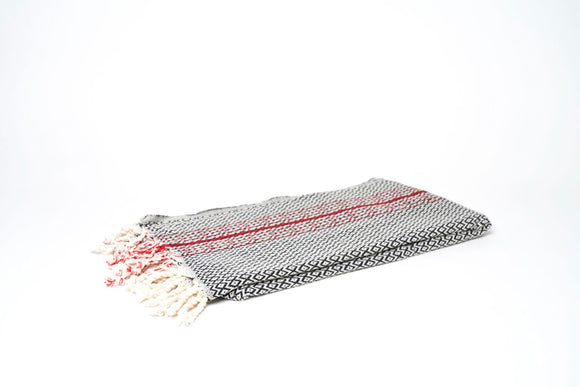 Turkish Towel Peshtemal, Diamond with Red Stripe