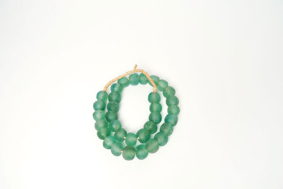 Green Aqua Recycled Glass beads- Medium Sized