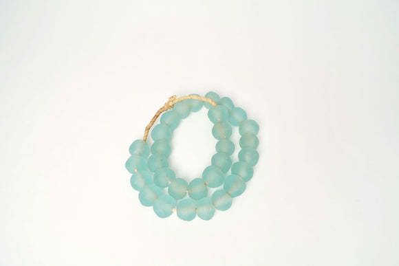 Jumbo Green Aqua Recycled Glass beads