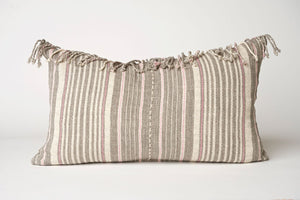 Striped Hmong Pillow with Fringe