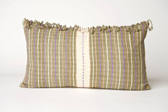Striped Hmong Pillow with Fringe Cover