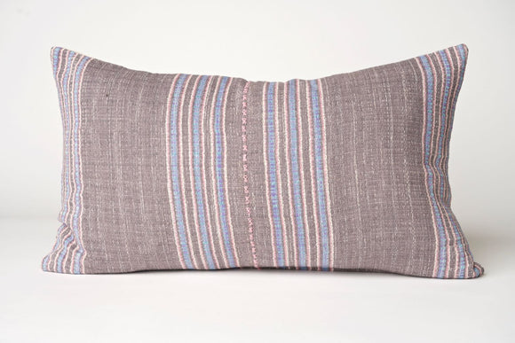 Gray Lavender Striped Hmong Pillow Cover