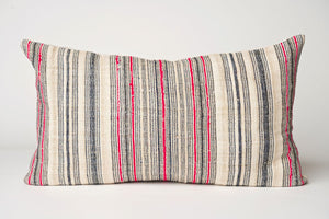 Pink and Gray Striped Hemp Pillow Cover
