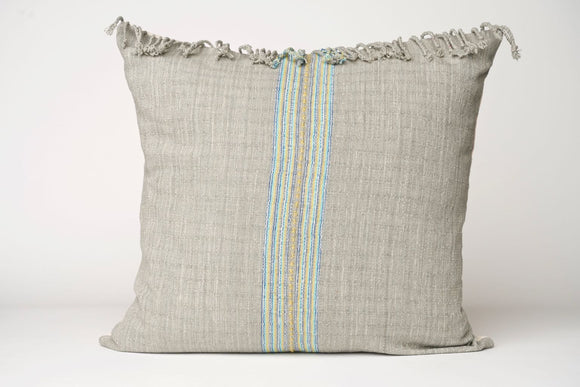 Gray Fringe Hmong Pillow Cover