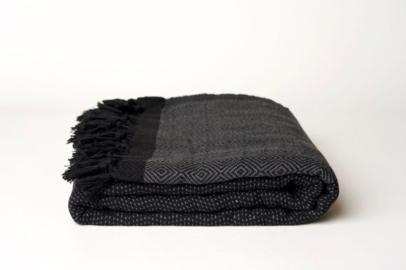 Gray and Black Throw