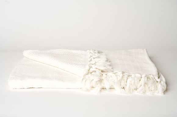 White Herringbone Throw