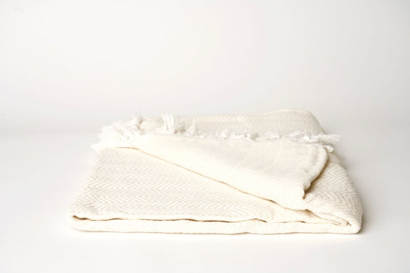 Natural Cream Herringbone Throw