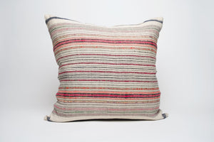 Vintage Hemp Textile Pillow Cover with Bright Accents 2