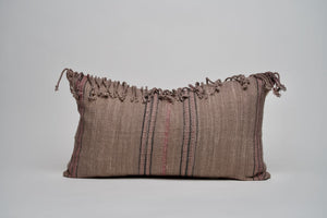 Lavender Leaning Gray Lumbar Pillow Cover with Fringe and Pink accents