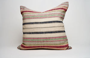 Vintage Hemp Textile Pillow Cover with Bright Accent
