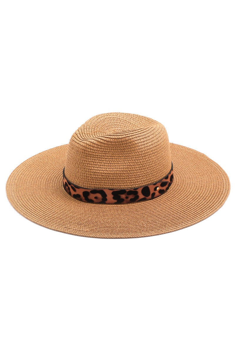 Tan Leopard Straw Hat