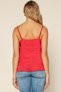 Lacy Silk Top - Red