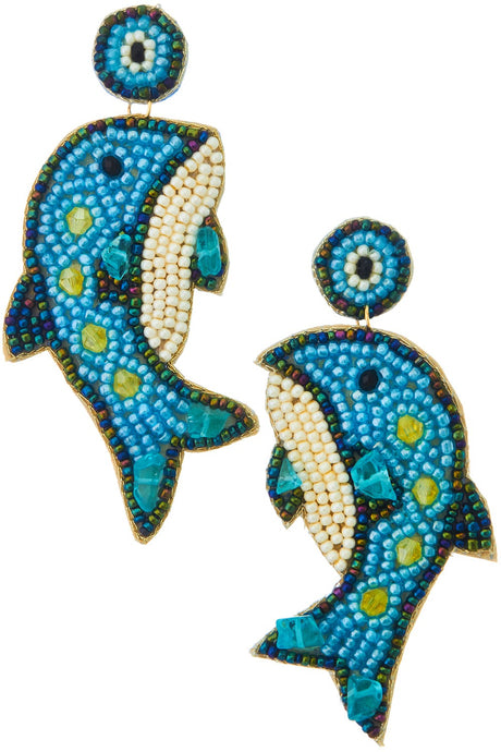 Dolphin Beaded Earring