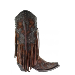 Leopard Fringe Corral Boots
