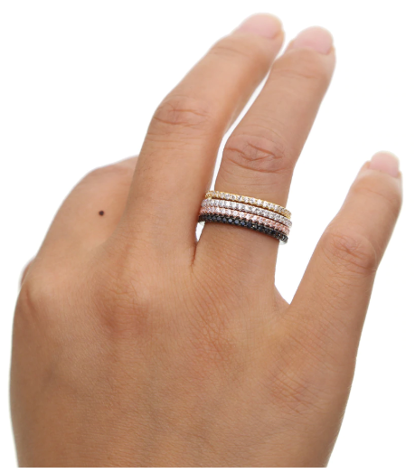 Micro Pave Eternity Rings cz  Sterling Silver 925