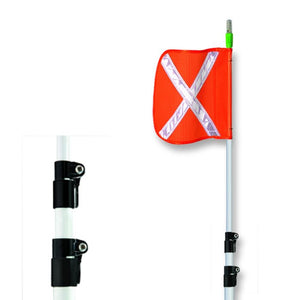 "10-21 FT TELESCOPING WHIP W/ 16""X16"" ORANGE REFLECTIVE X FLAG"