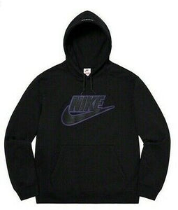 Supreme x Nike Leather Applique Hooded Sweatshirt Black
