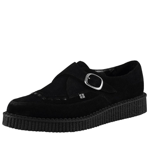 A8139 BLACK SUEDE BUCKLE POINTED TOE CREEPER