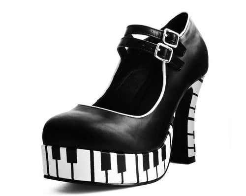 A7099L - VEGAN TWO STRAP PLATFORM PUMP WITH PIANO KEY PRINT