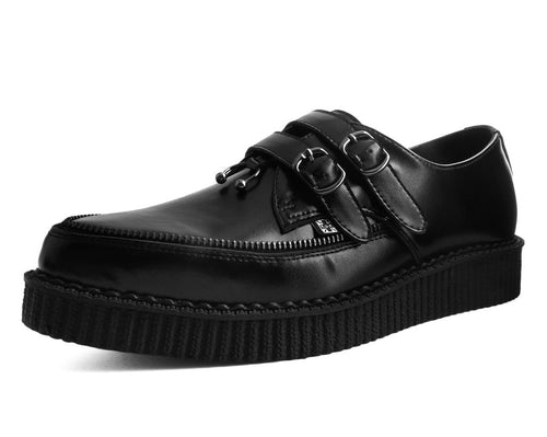 A9349 - Black Leather 2-Buckle Zipper Pierced Pointed Creeper