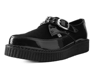 A9511 - VEGAN FAUX HAIR STUDDED PATENT POINT TOE CREEPER