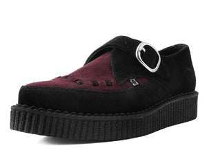 A9592 - Black & Burgundy Cow suede Point Toe Creeper