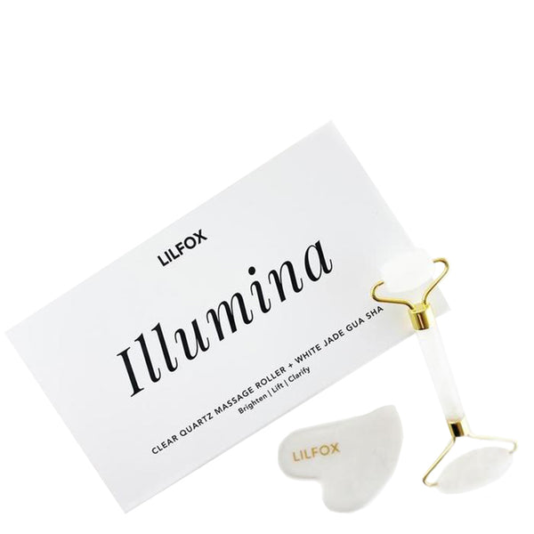 Illumina Quartz Roller + White Jade Gua Sha Set