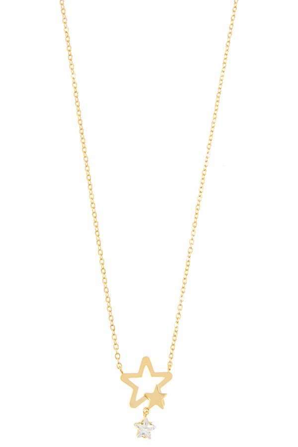 Dainty double star pendant necklace