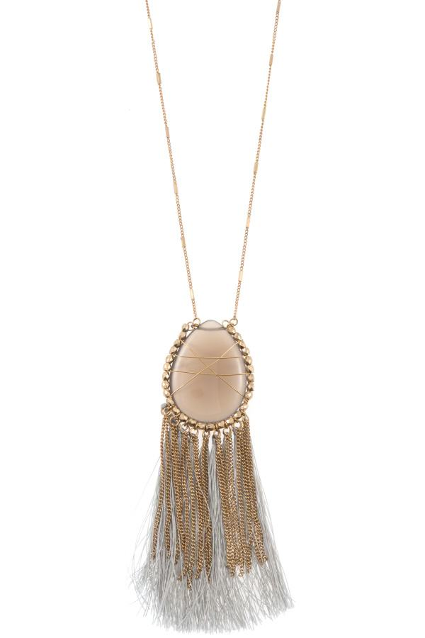 Elognated wrapped gem tassel pendant necklace