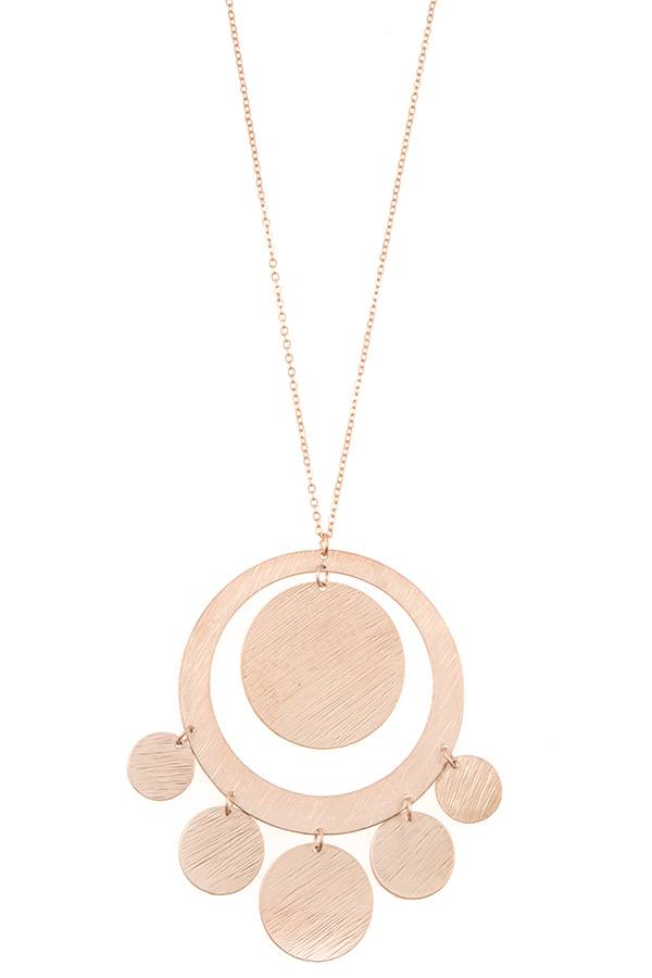 Textured disk link pendant long necklace