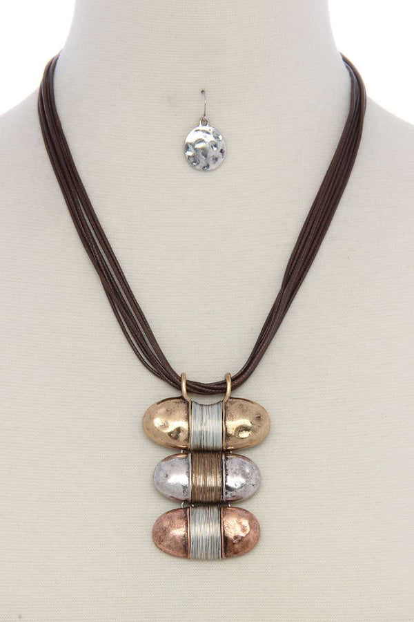 Hammered slanted oval shape wired wrapped necklace