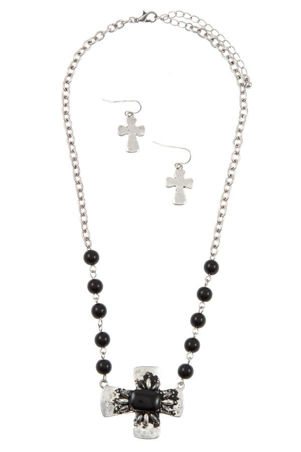 Beaded cross accent pendant necklace set