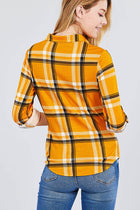 3/4 Roll Up Sleeve Front Pocket Detail Plaid Check Print Stretch Knit Shirts