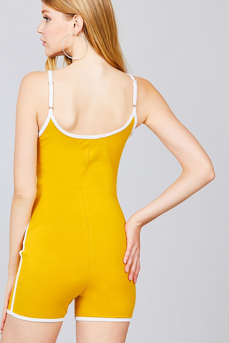 Contrast Binding Cotton Spandex Romper