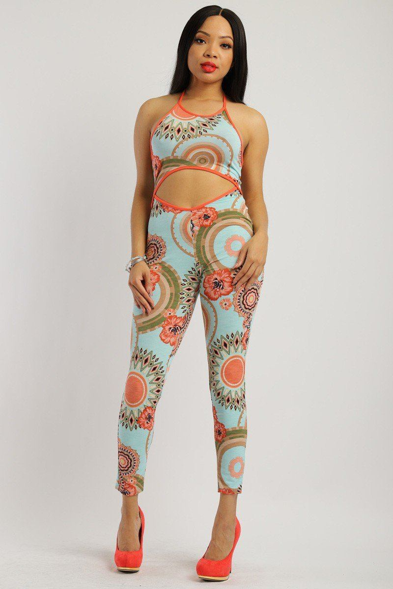 Print Jumpsuit With Back Tie Halter Neck
