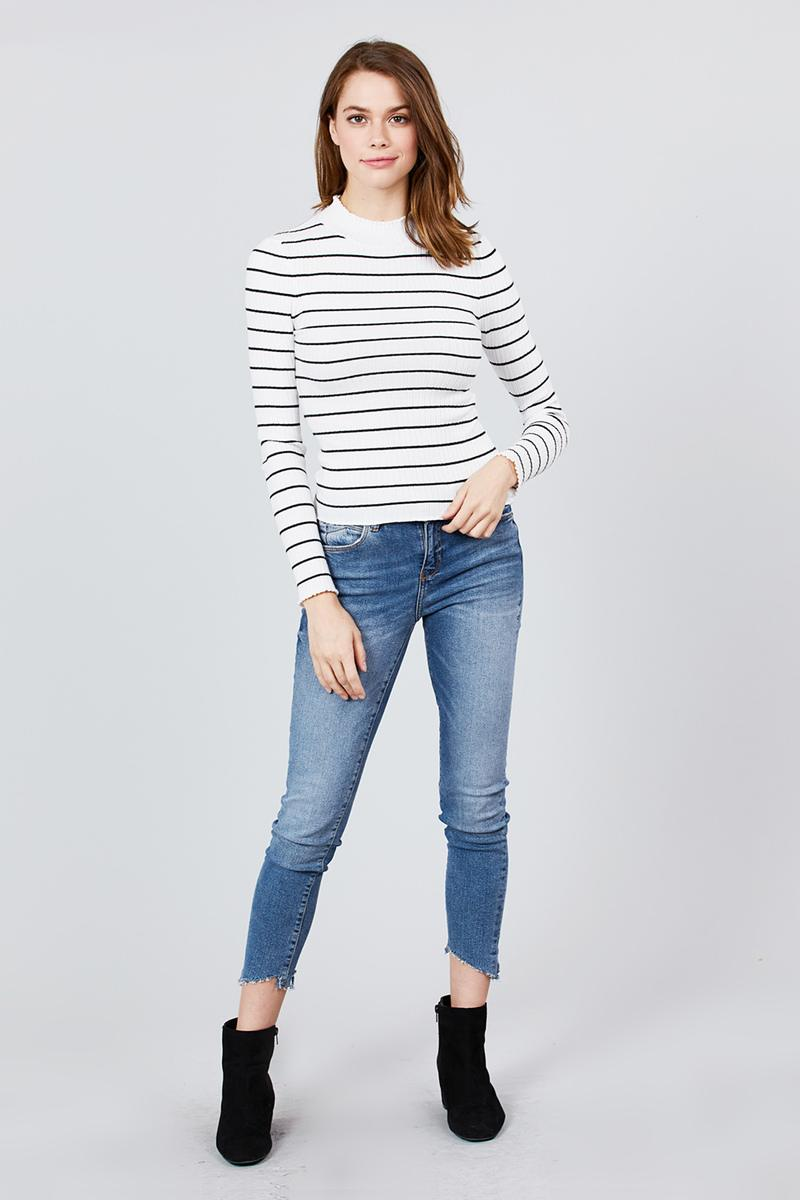 Long Sleeve Mock Neck Stripe Rib Sweater Top