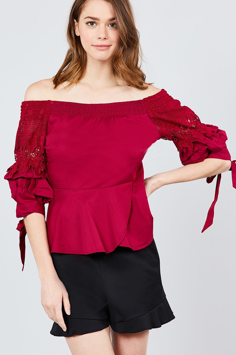 Bubble Sleeve W/bow Tie Off The Shoulder W/crochet Lace Cotton Woven Top