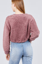 Long Dolman Sleeve Round Neck Toggle Elastic Hem Faux Fur Top